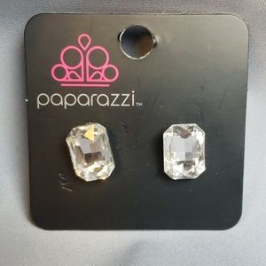 paparazzi Jewelry - New Earrings POST Silver with large Faceted CZS